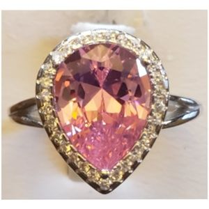 4ct Pink Sapphire and White Sapphires Ring Size 8